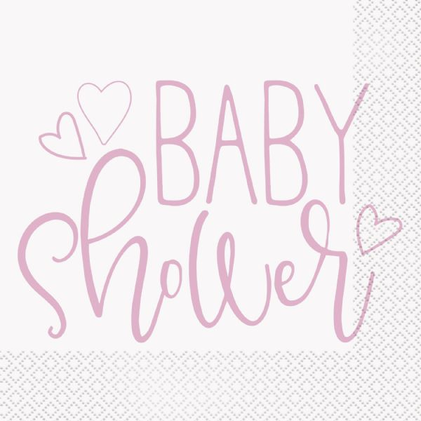 Pink Hearts Baby Shower Napkins (16)